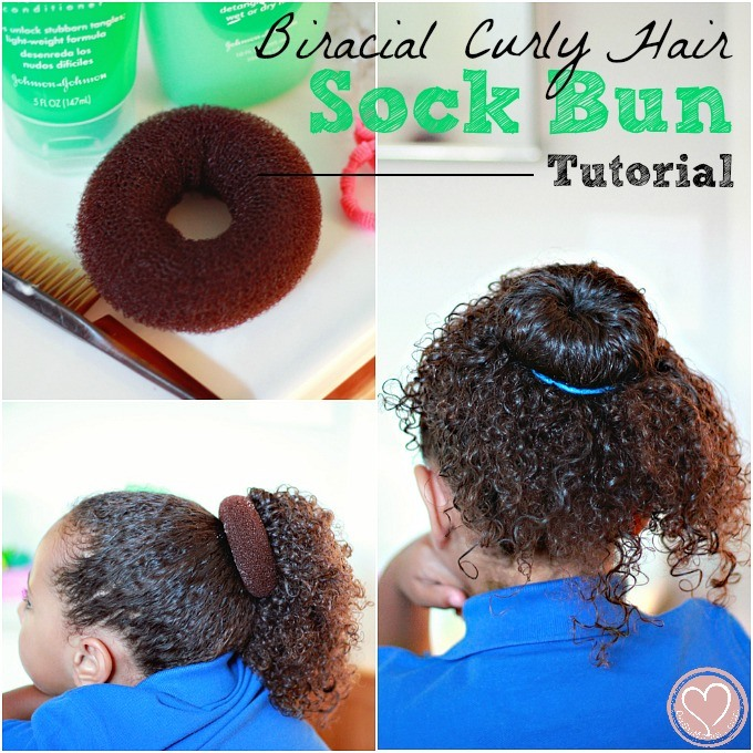 Curly Biracial Hair Care: Sock Bun Tutorial
