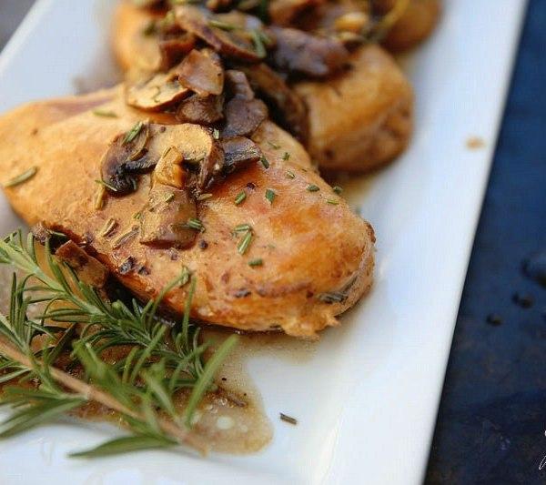 Mushroom Chicken Breast Recipe with Balsamic and Rosemary