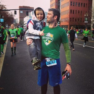Father & son at the finish line of my first race (Shamrock Run 15K on St. Patrick's Day 2013)