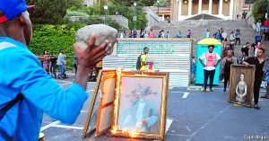 Cape Town - 160216 - Dozens of protestors burnt all the paintings and photos of white people in UCT. Some dating back to the 1940's. Picture: David Ritchie