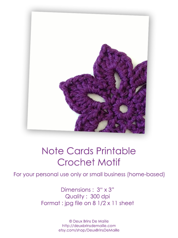 Free Printable Note Cards - Crochet Motif