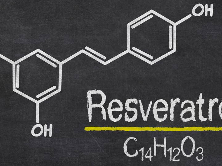 Blackboard with the chemical formula of Resveratrol