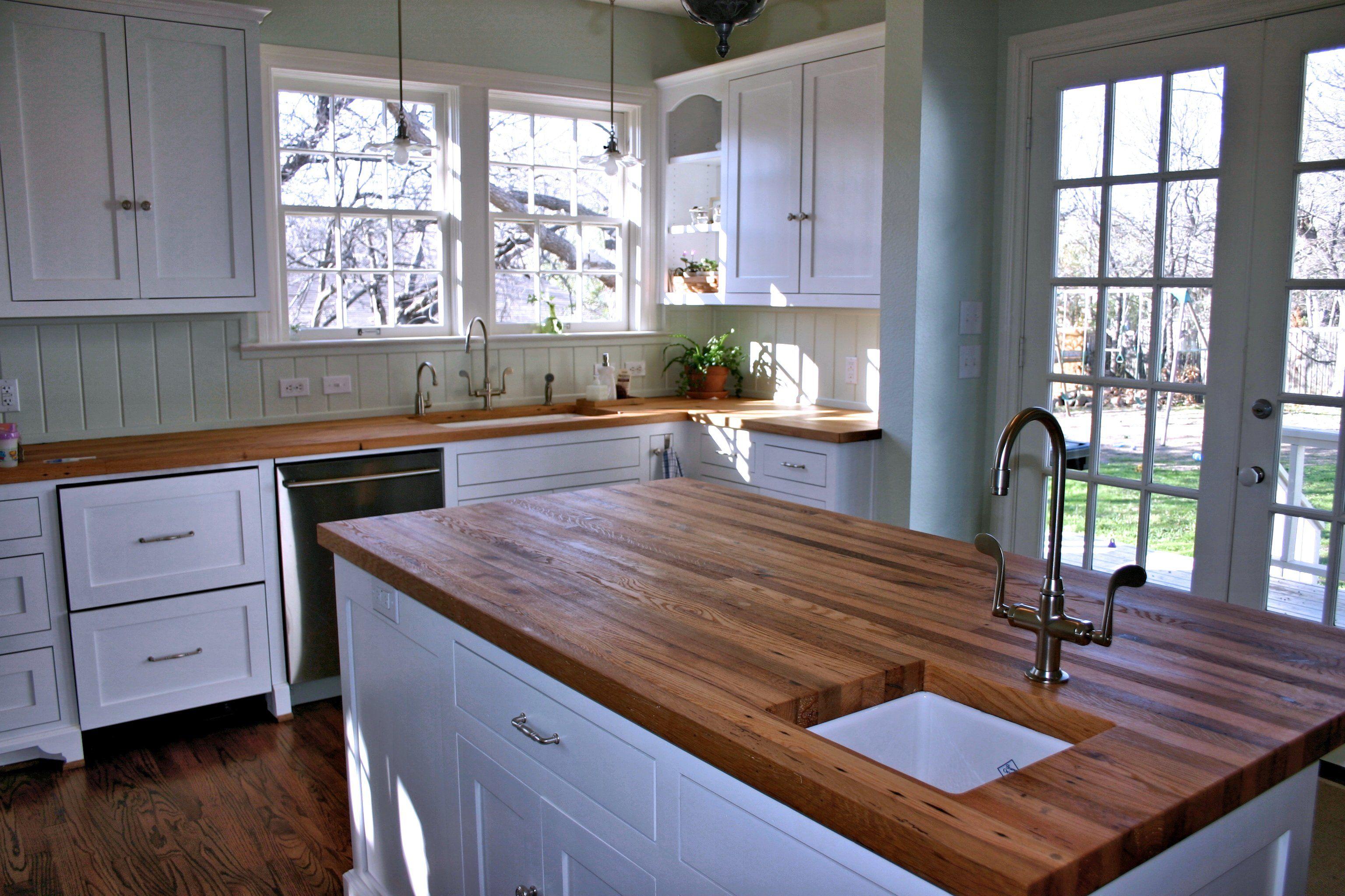 reclaimed white oak wood countertop photos wood countertops kitchen Reclaimed White Oak face grain custom wood island countertop and countertop