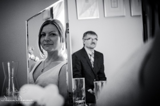 London Wedding Photography of Bride and her fathers reflection in the mirror