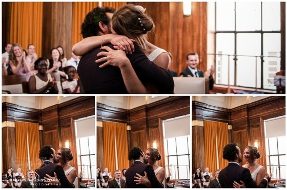 Wedding Photography of the Momentous First Kiss at the Stoke Newington Town hall