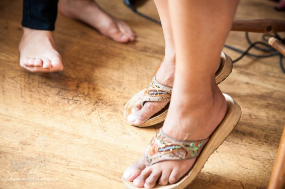 Brides feet during makeup preparation