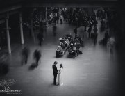 Bride-and-Groom-in-busy-St-Pancras-Station