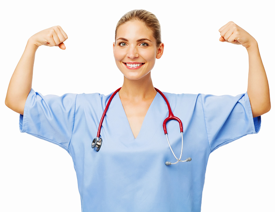 Confident Female Nurse Flexing Muscles