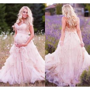 Nice 2016 New Maternity A Line Wedding Dresses Sweeart Handmade Flowersruffles Pink Tulle Corset Summer Garden Discount 2016 New Maternity A Line Wedding Dresses Sweeart