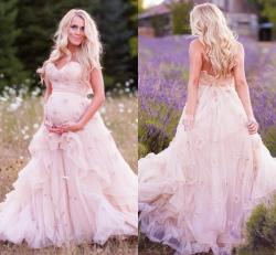 Nice 2016 New Maternity A Line Wedding Dresses Sweeart Handmade Flowersruffles Pink Tulle Corset Summer Garden Discount 2016 New Maternity A Line Wedding Dresses Sweeart
