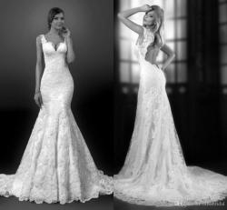 Great Discount Classic 2015 Lace Mermaid Wedding Dresses Bridal Gowns Tieredappliques Romantic Sweep Train Backless Wedding Gowns Sexy Cap Sashbridal Gowns Discount Classic 2015 Lace Mermaid Wedding D