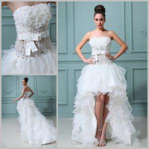Creative Discount Low Wedding Dress Strapless Ruffles Organza Short Front Longlace Up Corset Wedding Gowns Weeding Dresses Dresses Discount Low Wedding Dress Strapless Ruffles Organza Short