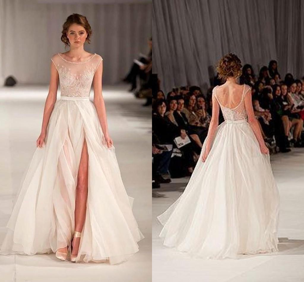 dress for beach wedding beach wedding dress wedding dresses with slit beach wedding gowns cap sleeves prom dresses sheer illusion neckline backless