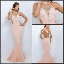 Pretentious See Larger Image Sexy Back Long Blush Prom Dresses Mermaid Evening Gowns Jewel Beaded Blush Prom Dresses Clearance Blush Prom Dresses Macy S