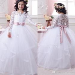 Long Sleeve First Communion Dress for Girls 2017 Lace Ball Gown