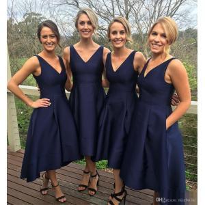 Precious Pockets Vestido Madrinha Short Navy Blue Satin Bridesmaid Dresses Wedding Party Girls Low V Necksummer Beach Garden Cheap Navy Blue Satin Bridesmaid Dresses Wedding Party Girls Low