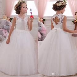 Lovey Holy Lace Princess Flower Girl Dresses 2018 Ball Gown First