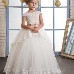 Vintage Lace Puffy Flower Girl Dresses for Weddings Ivory Tulle