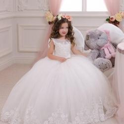 Hot Sale Ball Gown Holy Communion Dresses Custom Made White Flower