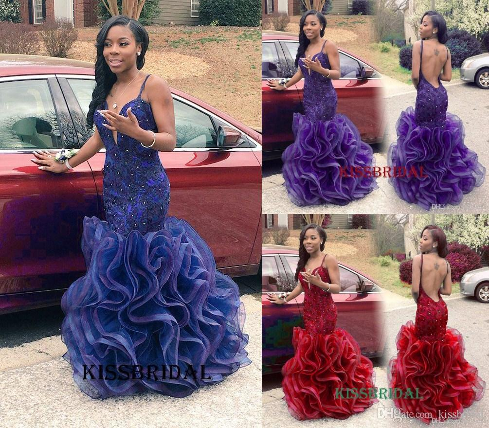 Relaxing Rachel Allan 2016 Royal Blue Mermaid Prom Dresses Sexy Long African V Neckbackless Lace Appliques Ruffles Organza Length Party Gowns Fashioned Rachel Allan 2016 Royal Blue Mermaid Prom Dresse wedding dress Mermaid Prom Dress