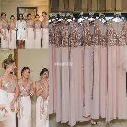 Top Custom Made Long Bridesmaid Dresses Pink Chiffon Rose G Sequinswith Sash Sheath 2017 Cheap Wedding Guest Dress Gowns Party Taupebridesmaid Custom Made Long Bridesmaid Dresses Pink Chiffon Rose G