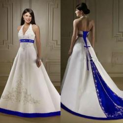 Small Of Blue And White Wedding Dress
