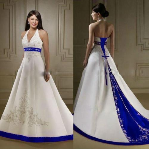 Medium Crop Of Blue And White Wedding Dress