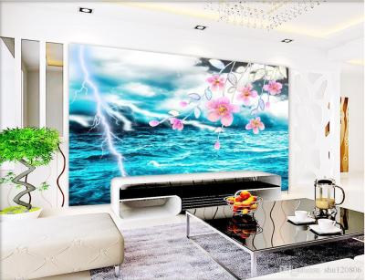 3d Room Wallpaper Custom Photo Mural Cool Lightning Green Sea View Background W Wall Painting ...