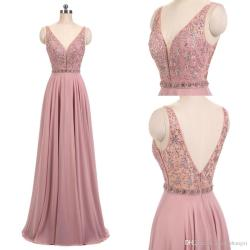 First New 2018 Real Blush Pink Dresses V Neck Sleeveless Beads A Line Longchiffon Formal Prom Dresses Evening Party Gown Mor Dresses Promdresses New 2018 Real Blush Pink Dresses V Neck Sleeveless Bead