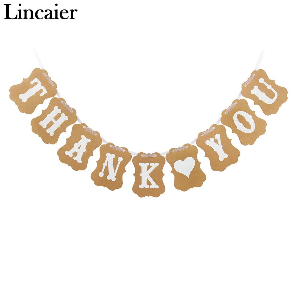 Assorted 2018 Wholesale Lincaier Paper Thank You Banner Wedding Decoration Bridalbaby Shower Party Supplies Birthday Guest Favor Gifts Signs Bunting 2018 Wholesale Lincaier Paper Thank You Banner Wedd inspiration Thank You Banner