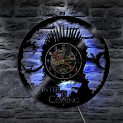 Top Thrones Vinyl Clock Wall Atmosphere Light Lp Vintage Thrones Vinyl Clock Wall Atmosphere Light Lp Vintage Silhouetterecord Handmade Gift Interior Decorative Art Led Flash Light Wall Clock Game Gam
