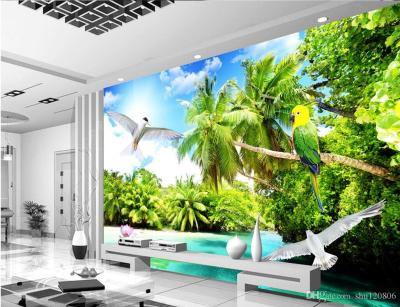 3d Room Wallpaper Custom Photo Mural Outdoor Beach Coconut Tree Scenery Background W Painting ...