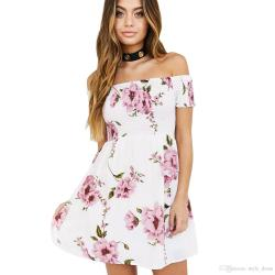 Favorite Women Off Shoulder Floral Print Summer Dress Sexy Short Sleeve Beach A Lineshort Mini Casual Dress Floral Dress Beach Dress Casual Dress Online Women Off Shoulder Floral Print Summer Dress Se