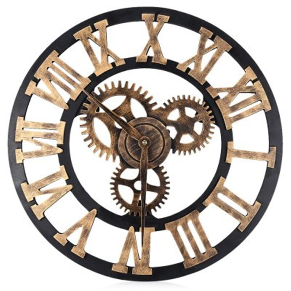 Contemporary Wall Clock Wheel Gear Wooden Round Rustic Roman Numerals Silentlarge Kitchen Wall Clock Large Kitchen Wall Clocks From Wall Clock Wheel Gear Wooden Round Rustic Roman Numerals furniture Large Wall Clock With Gears