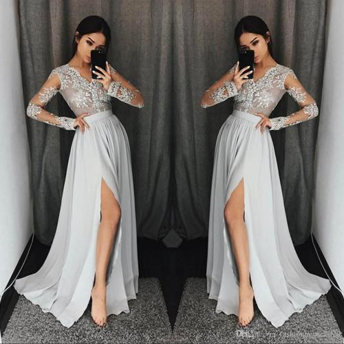 Intriguing Split Modest Evening Dress Original Prom Dressespetite Prom Silver Grey Long Sleeve Prom Dresses Long V Neck Appliques Lace Silver Grey Long Sleeve Prom Dresses Long V Neck Appliques Lace F