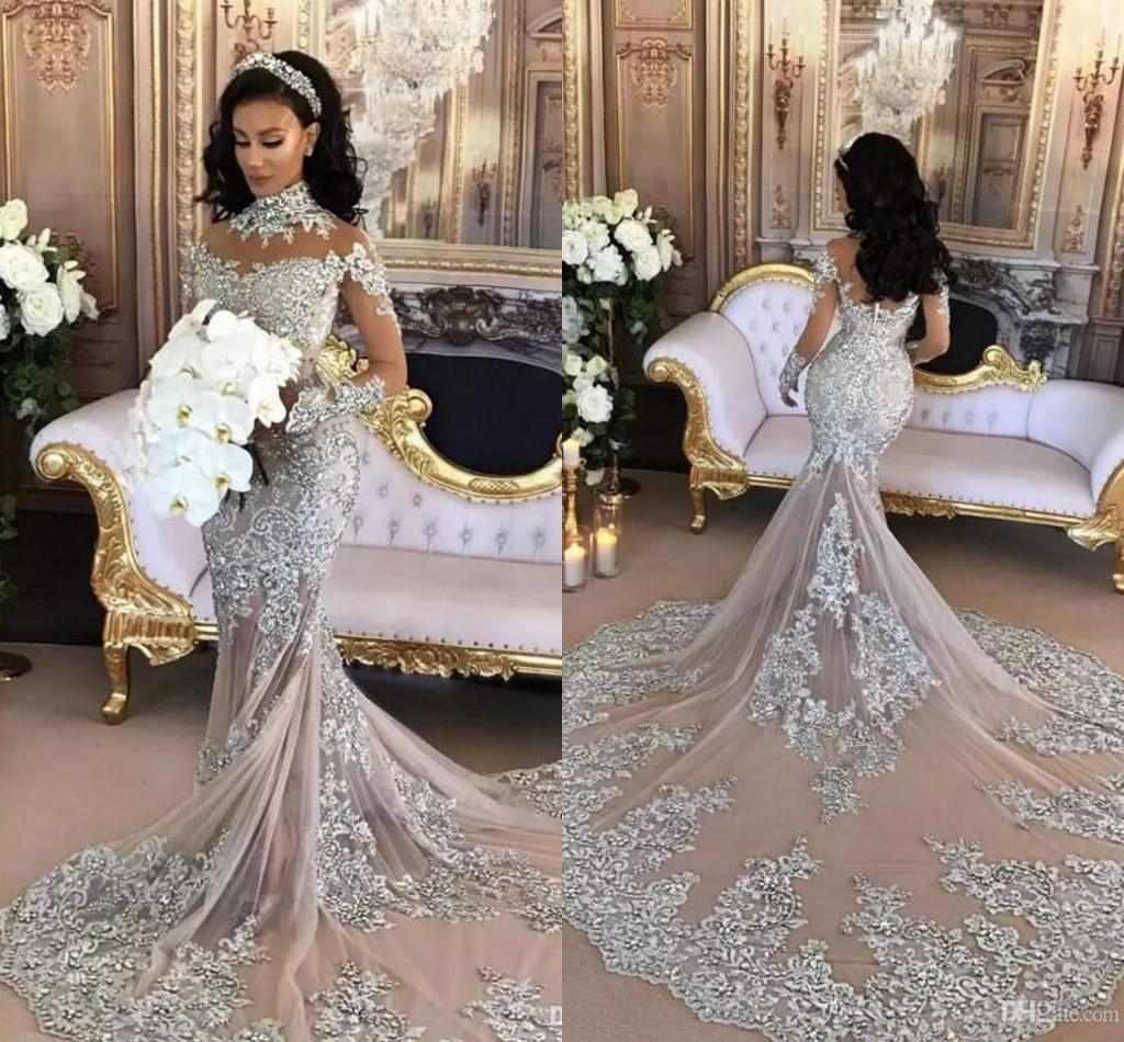 Stylish 2017 Silver Luxury Wedding Dresses Sheer Long Sleeves Neck Laceappliqued Beaded Mermaid Bridal Gowns Chapel Train Custom Made Lace Weddingdresses 2017 Silver Luxury Wedding Dresses Sheer Long wedding dress Silver Wedding Dresses