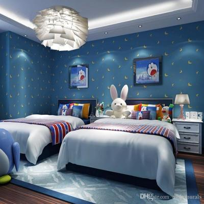 Modern Kids Room Wallpaper Cartoon Star Moon Cute Stars Warm And Environmentally Friendly Boy ...
