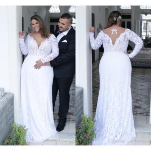 Lovable Size Dress Size Wedding Dress Long Sleeves Back Sheath Bride 2017 Wedding Weardresses Sexy Deep V Neck Lace Size Wedding Dress Long Sexy Deep V Neck Lace