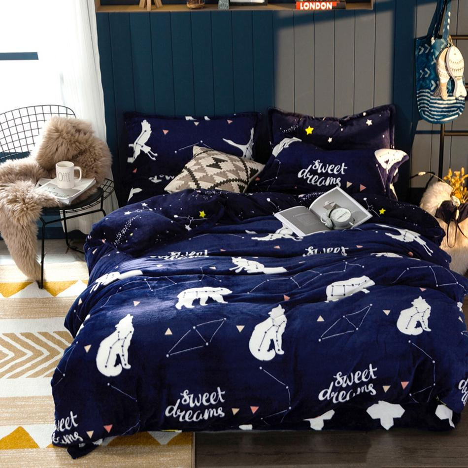 Pristine Adults Winter Warm Quilt Cover Bed Linen Beddingcollections Luxury Deep Blue Flannel Duvet Cover Sets Twin Queen King Size Cartoon Deep Blue Flannel Duvet Cover Sets Twin Queen King Size Cart baby Flannel Duvet Cover