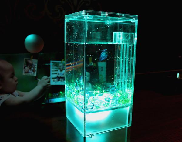 Fish Aquarium Self Cleaning Betta acrylic led lighting small fish tank