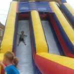 The giant inflatable slide-Nolan and Kylee