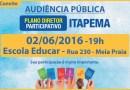 Itapema: Audiência para Revisão do Plano Diretor será na próxima quinta-feira (02/06)