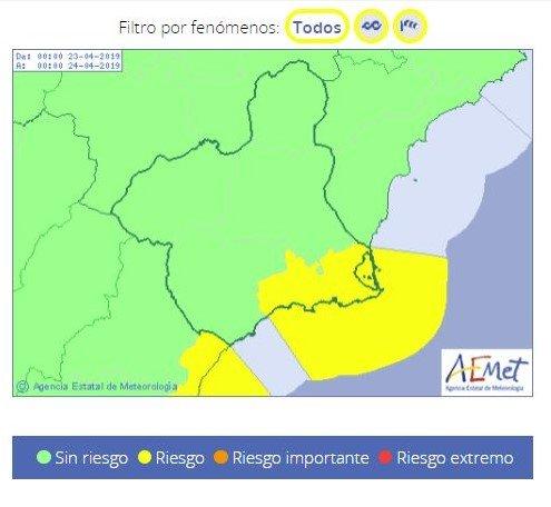 Aemet anuncia vientos de hasta 70 km/h y temporal en todo el litoral del Campo de Cartagena