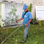 el alcalde José Luis Rodríguez giró instrucciones para que las cuadrillas de Servicios Públicos realizaran labores de desmalezamiento de las distintas áreas de jardín del plantel