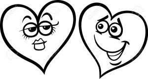 Black and White Cartoon Illustration of Two Hearts in Love on Valentine Day for Coloring Book
