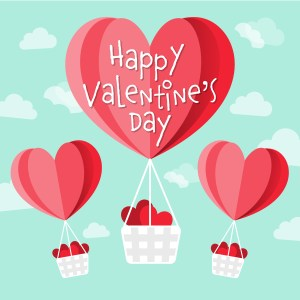 Happy Valentine's day vector heart shaped hot air balloons in the sky