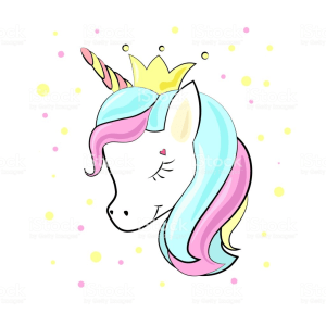 Unicorn baby cute cartoon in flat style for clothes or as logotype, badge, icon, card, poster, invitation, banner template. Vector illustration. Girl, woman fashion banner, print, design