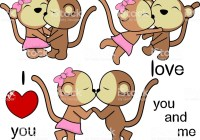 lovely cute animals couple kissing cartoon love valentine set in vector format