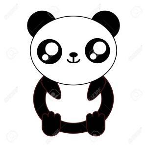 kawaii panda bear animal icon over white background vector illustration