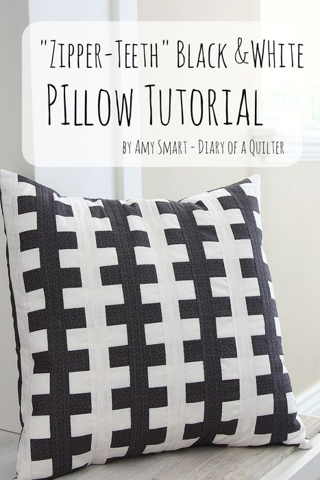 Zipper Teeth Pillow tutorial DIY